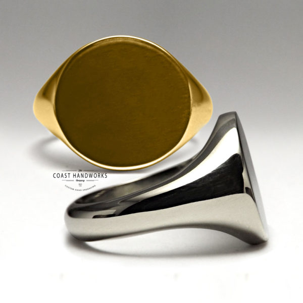 Yellow and White Gold Signet Rings, Rounds for Custom Hand Engraving