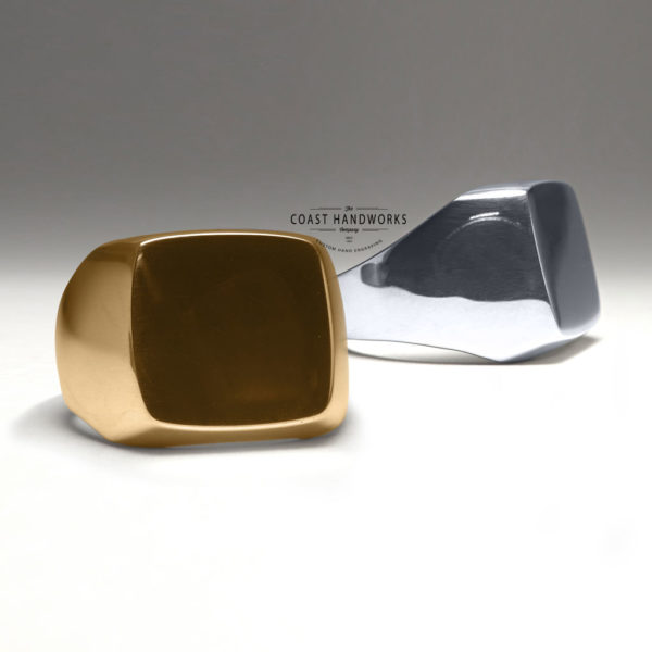 Square-Top Thickset Signet Ring Blank, Engravable in Yellow or White Gold