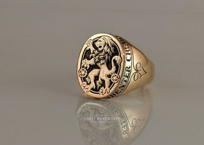 Gold Signet Ring Hand Engraved with Rampant Lion Family Crest