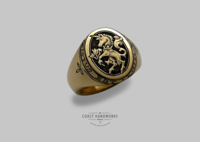 The Unicorn Ring, Hand Engraved Family Crest, Gold Signet