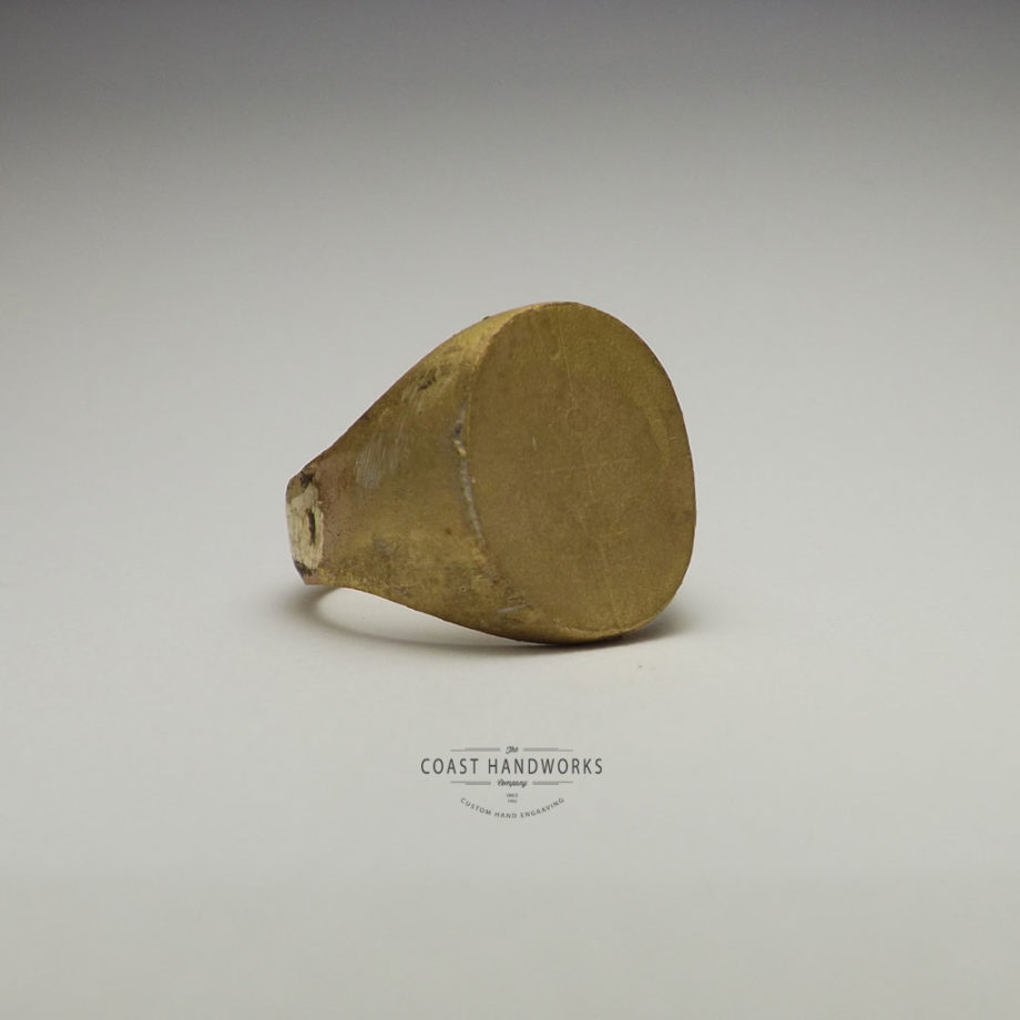 Each signet ring is sized and made to order - this freshly minted gold signet ring needs to be filed, sanded and polished!