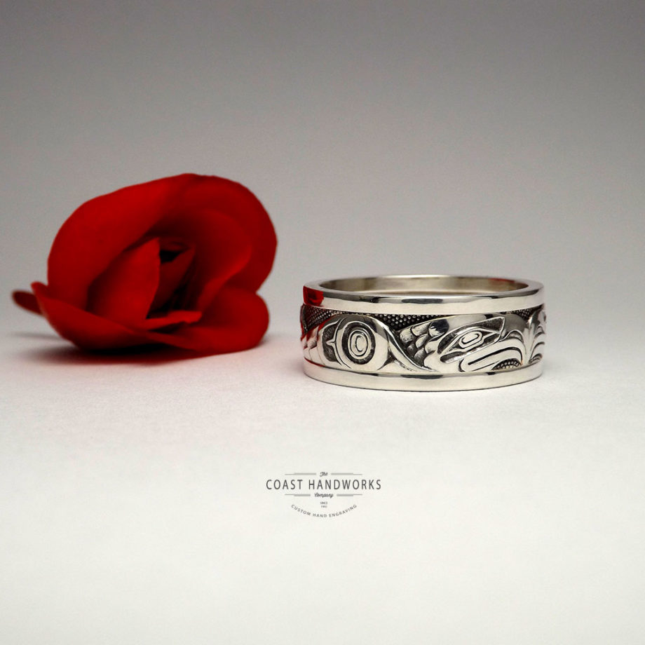 White gold native art eagle wedding band in white gold, hand made, hand engraved