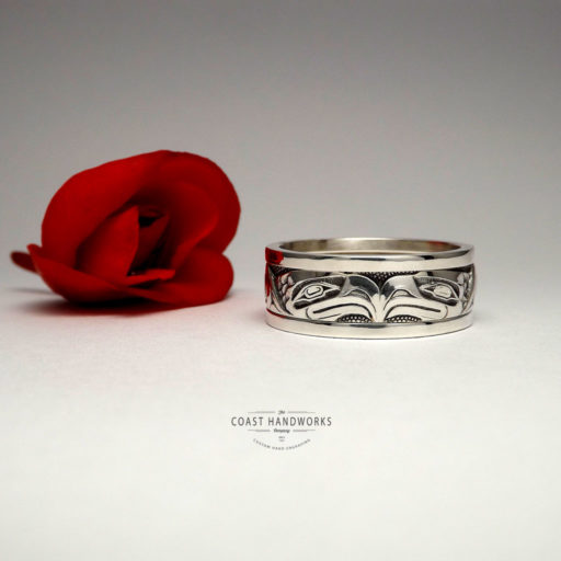 Hand made, native art wedding band in white gold with eagle engraved in Pacific Northwest Haida-style