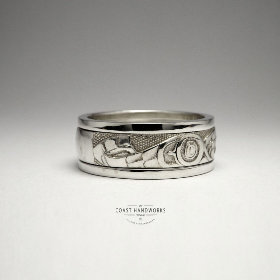 Deep carving, Native Art Eagle in white gold wedding band, unpolished state