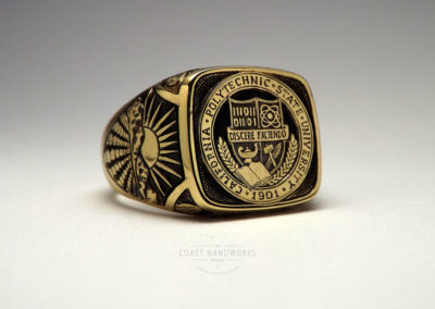 Custom Made, Hand Engraved Class Ring in 14k Gold