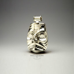 Original Native Art design hand carved in silver pendant is truly 3 dimensional, like sculpture