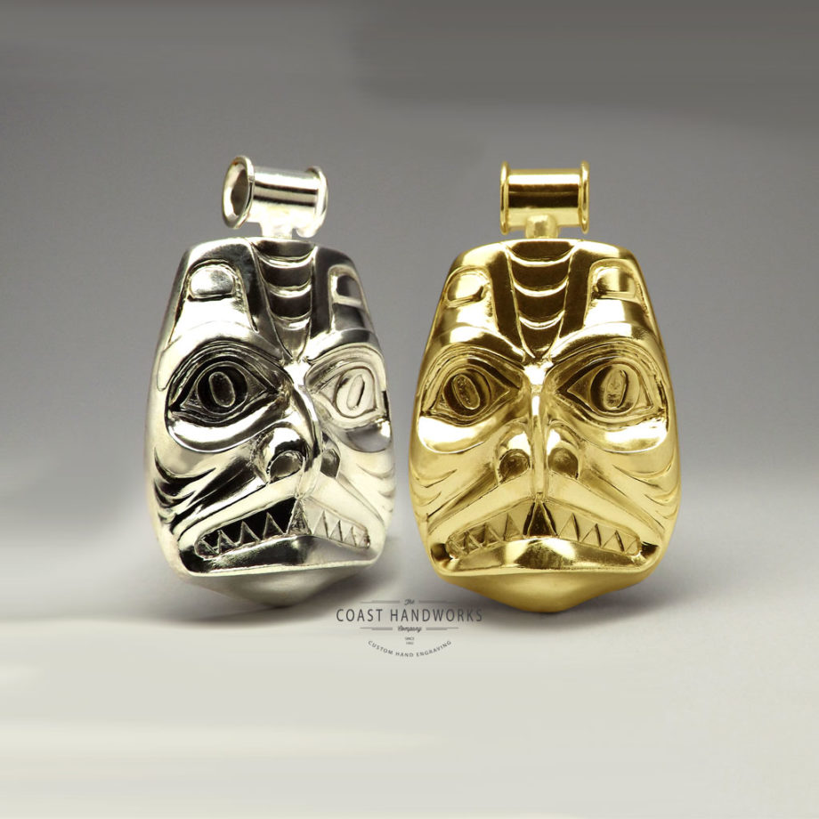 Traditional Native Art Dogfish mask hand engraved in silver, gold and white gold pendant