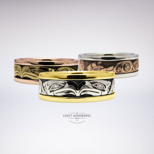 Numerous color combinations are available to make these hand engraved Native-style Eagle rings in three parts, which are then assembled and fuse into one beautiful solid band