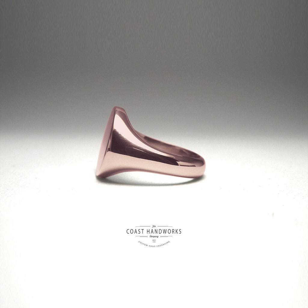 55a157ca Rose gold signet ring with round face, sized to order and hand engraved  with your