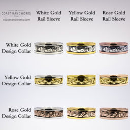 Reference images of two-tone gold color combinations for reference only. Actual tincture will vary with karat. High karat gold is lighter and brighter than low karat