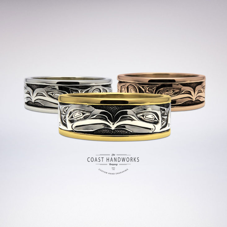Numerous gold color & karat combinations are available to make these hand engraved Native-style Raven rings fabricated in three parts then assembled and fuse into one beautiful solid band