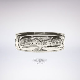 Original Native Art-style wolf and eagle engraved in gold ring, one of many possible combinations
