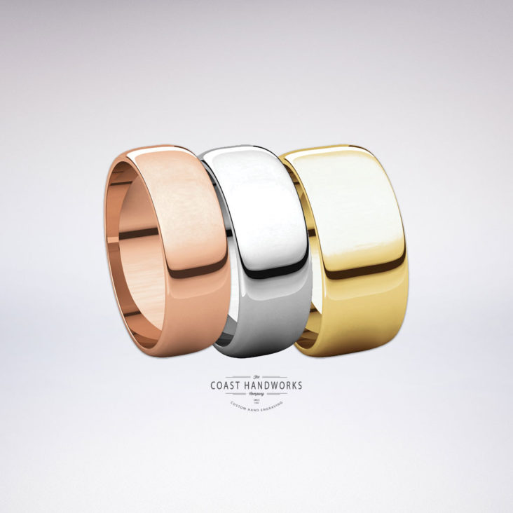 Select 1 of 3 widths of our low-dome rounded bands in yellow, white or rose gold along with your preferred fit and engraving design wishes and we'll hand make it and hand engrave it from scratch just for you!