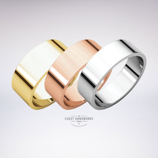Select 1 of 3 modern flat wedding bands in yellow, white or rose gold along with your preferred width, fit and design wishes and we'll hand make it and hand engrave it from scratch just for you!
