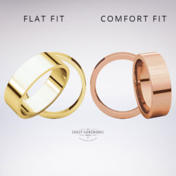 A traditional fit for these bands is simply flat across the inner circumference while a 'comfort fit' adds slight thickness and then rounds off the inner edges so it slips on and off more easily.