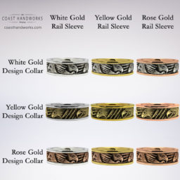 Select one of 9 color combination for your hand made, hand engraved bald eagle ring in yellow, white and rose gold center and opposing trim