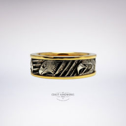 West Coast art feature the bald eagle hand engraved in a white gold design collar fitted over yellow gold rail sleeve and bordering trim
